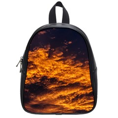 Abstract Orange Black Sunset Clouds School Bags (small)  by Simbadda