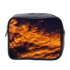 Abstract Orange Black Sunset Clouds Mini Toiletries Bag 2 Side by Simbadda