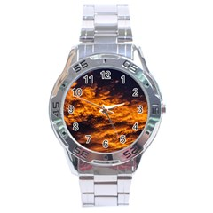 Abstract Orange Black Sunset Clouds Stainless Steel Analogue Watch by Simbadda