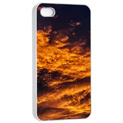 Abstract Orange Black Sunset Clouds Apple Iphone 4/4s Seamless Case (white) by Simbadda