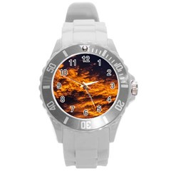 Abstract Orange Black Sunset Clouds Round Plastic Sport Watch (l) by Simbadda