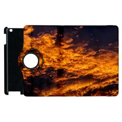Abstract Orange Black Sunset Clouds Apple Ipad 2 Flip 360 Case by Simbadda
