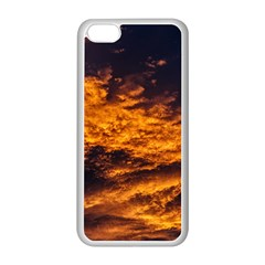 Abstract Orange Black Sunset Clouds Apple Iphone 5c Seamless Case (white) by Simbadda