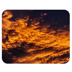 Abstract Orange Black Sunset Clouds Double Sided Flano Blanket (medium)  by Simbadda