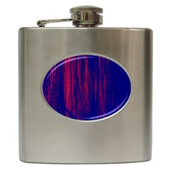 Abstract Color Red Blue Hip Flask (6 Oz) by Simbadda