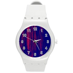 Abstract Color Red Blue Round Plastic Sport Watch (m) by Simbadda