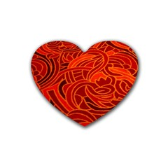 Orange Abstract Background Rubber Coaster (heart)  by Simbadda