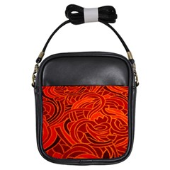 Orange Abstract Background Girls Sling Bags by Simbadda