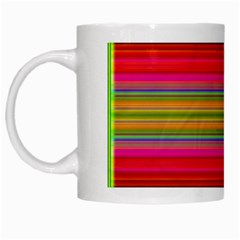 Fiesta Stripe Bright Colorful Neon Stripes Cinco De Mayo Background White Mugs by Simbadda
