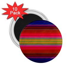 Fiesta Stripe Bright Colorful Neon Stripes Cinco De Mayo Background 2 25  Magnets (10 Pack)  by Simbadda