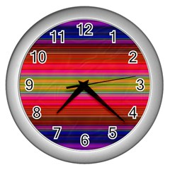 Fiesta Stripe Bright Colorful Neon Stripes Cinco De Mayo Background Wall Clocks (silver)  by Simbadda