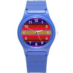 Fiesta Stripe Bright Colorful Neon Stripes Cinco De Mayo Background Round Plastic Sport Watch (s) by Simbadda