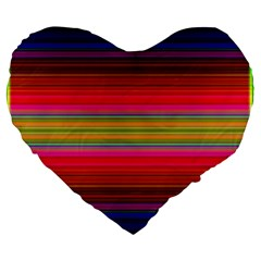 Fiesta Stripe Bright Colorful Neon Stripes Cinco De Mayo Background Large 19  Premium Flano Heart Shape Cushions by Simbadda