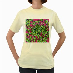 Big Growth Abstract Floral Texture Women s Yellow T Shirt by Simbadda