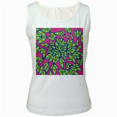Big Growth Abstract Floral Texture Women s White Tank Top by Simbadda