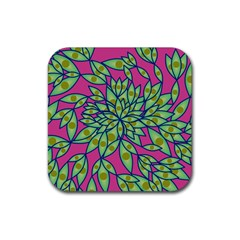 Big Growth Abstract Floral Texture Rubber Square Coaster (4 Pack)  by Simbadda