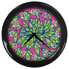 Big Growth Abstract Floral Texture Wall Clocks (black)