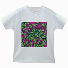 Big Growth Abstract Floral Texture Kids White T Shirts by Simbadda