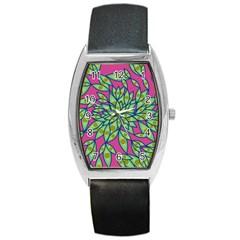 Big Growth Abstract Floral Texture Barrel Style Metal Watch by Simbadda