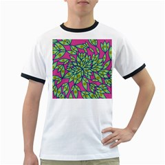 Big Growth Abstract Floral Texture Ringer T Shirts by Simbadda
