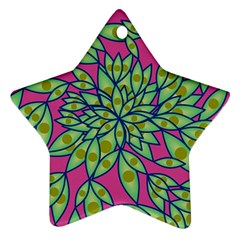 Big Growth Abstract Floral Texture Star Ornament (two Sides) by Simbadda