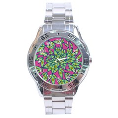 Big Growth Abstract Floral Texture Stainless Steel Analogue Watch by Simbadda