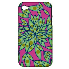 Big Growth Abstract Floral Texture Apple Iphone 4/4s Hardshell Case (pc+silicone) by Simbadda