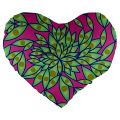 Big Growth Abstract Floral Texture Large 19  Premium Heart Shape Cushions by Simbadda