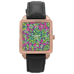 Big Growth Abstract Floral Texture Rose Gold Leather Watch  by Simbadda