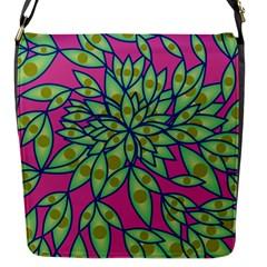 Big Growth Abstract Floral Texture Flap Messenger Bag (s) by Simbadda