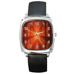Abstract Wallpaper With Glowing Light Square Metal Watch