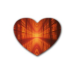 Abstract Wallpaper With Glowing Light Rubber Coaster (heart)  by Simbadda