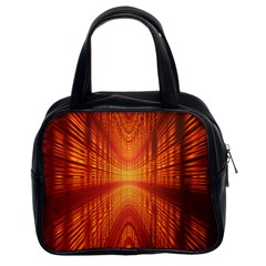 Abstract Wallpaper With Glowing Light Classic Handbags (2 Sides) by Simbadda