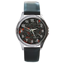 Volcanic Lava Background Effect Round Metal Watch by Simbadda