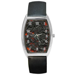 Volcanic Lava Background Effect Barrel Style Metal Watch by Simbadda
