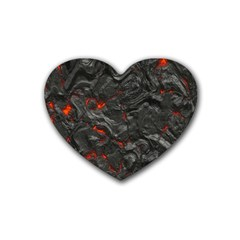 Volcanic Lava Background Effect Rubber Coaster (heart)  by Simbadda