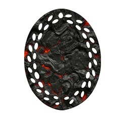 Volcanic Lava Background Effect Oval Filigree Ornament (two Sides) by Simbadda