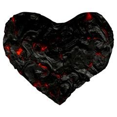 Volcanic Lava Background Effect Large 19  Premium Heart Shape Cushions by Simbadda