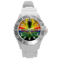 Future Abstract Desktop Wallpaper Round Plastic Sport Watch (l) by Simbadda