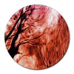Fire In The Forest Artistic Reproduction Of A Forest Photo Round Mousepads