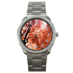 Fire In The Forest Artistic Reproduction Of A Forest Photo Sport Metal Watch by Simbadda
