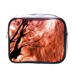 Fire In The Forest Artistic Reproduction Of A Forest Photo Mini Toiletries Bags by Simbadda