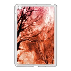 Fire In The Forest Artistic Reproduction Of A Forest Photo Apple Ipad Mini Case (white) by Simbadda