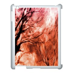 Fire In The Forest Artistic Reproduction Of A Forest Photo Apple Ipad 3/4 Case (white) by Simbadda