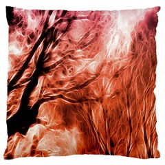Fire In The Forest Artistic Reproduction Of A Forest Photo Large Flano Cushion Case (two Sides) by Simbadda