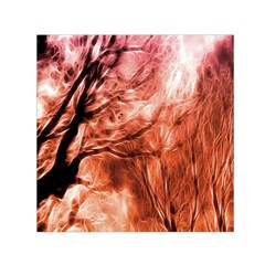 Fire In The Forest Artistic Reproduction Of A Forest Photo Small Satin Scarf (square) by Simbadda