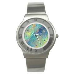 Colorful Patterned Glass Texture Background Stainless Steel Watch by Simbadda