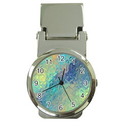 Colorful Patterned Glass Texture Background Money Clip Watches by Simbadda