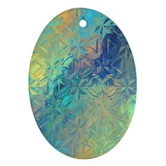 Colorful Patterned Glass Texture Background Oval Ornament (two Sides) by Simbadda