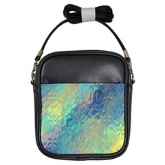 Colorful Patterned Glass Texture Background Girls Sling Bags by Simbadda
